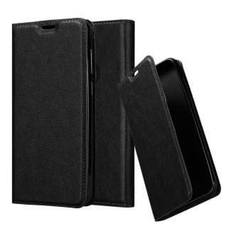 Cadorabo Hülle für Samsung Galaxy A6S in NACHT SCHWARZ Handyhülle mit Magnetverschluss, Standfunktion und Kartenfach Case Cover Schutzhülle Etui Tasche Book Klapp Style