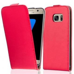 Cadorabo Hülle für Samsung Galaxy S7 in CHILI ROT - Handyhülle im Flip Design aus glattem Kunstleder - Case Cover Schutzhülle Etui Tasche Book Klapp Style