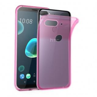 Cadorabo Hülle für HTC Desire 12 PLUS in TRANSPARENT PINK - Handyhülle aus flexiblem TPU Silikon - Silikonhülle Schutzhülle Ultra Slim Soft Back Cover Case Bumper