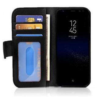 Cadorabo Hülle für Samsung Galaxy S8 in OXID SCHWARZ ? Handyhülle mit Magnetverschluss und 3 Kartenfächern ? Case Cover Schutzhülle Etui Tasche Book Klapp Style