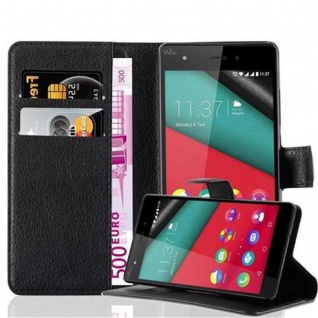 Cadorabo Hülle für WIKO PULP 4G in PHANTOM SCHWARZ - Handyhülle mit Magnetverschluss, Standfunktion und Kartenfach - Case Cover Schutzhülle Etui Tasche Book Klapp Style