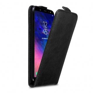 Cadorabo Hülle für Samsung Galaxy A6 PLUS 2018 in NACHT SCHWARZ - Handyhülle im Flip Design mit Magnetverschluss - Case Cover Schutzhülle Etui Tasche Book Klapp Style - Vorschau 1