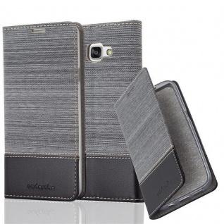 Cadorabo Hülle für Samsung Galaxy A7 2016 in GRAU SCHWARZ - Handyhülle mit Magnetverschluss, Standfunktion und Kartenfach - Case Cover Schutzhülle Etui Tasche Book Klapp Style