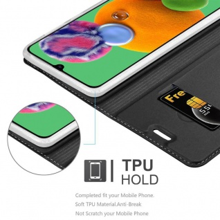 Cadorabo Hülle für Samsung Galaxy A90 5G in CLASSY SCHWARZ - Handyhülle mit Magnetverschluss, Standfunktion und Kartenfach - Case Cover Schutzhülle Etui Tasche Book Klapp Style - Vorschau 4