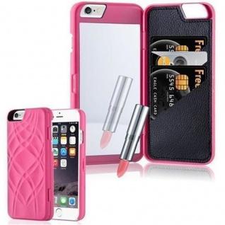 Cadorabo - TPU Hard Cover für Apple iPhone 6 / iPhone 6S mit Muster, Spiegel und 3 Kartenfächer in PINK