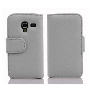 Cadorabo Hülle für Samsung Galaxy ACE 2 in MAGNESIUM WEIß ? Handyhülle aus strukturiertem Kunstleder mit Standfunktion und Kartenfach ? Case Cover Schutzhülle Etui Tasche Book Klapp Style - Vorschau 2
