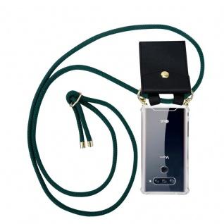 Cadorabo Handy Kette für LG V40 in ARMEE GRÜN - Silikon Necklace Umhänge Hülle mit Gold Ringen, Kordel Band Schnur und abnehmbarem Etui ? Schutzhülle