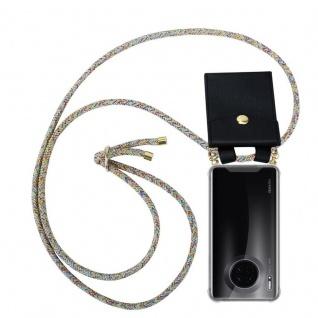Cadorabo Handy Kette für Huawei MATE 30 in RAINBOW - Silikon Necklace Umhänge Hülle mit Gold Ringen, Kordel Band Schnur und abnehmbarem Etui - Schutzhülle