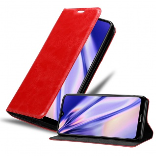 Cadorabo Hülle kompatibel mit Nokia 2.3 in APFEL ROT Handyhülle mit Magnetverschluss, Standfunktion und Kartenfach Case Cover Schutzhülle Etui Tasche Book Klapp Style