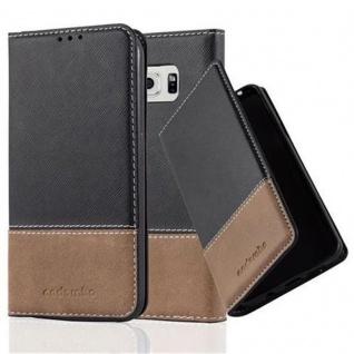 Cadorabo Hülle für Samsung Galaxy S6 in SCHWARZ BRAUN Handyhülle mit Magnetverschluss, Standfunktion und Kartenfach Case Cover Schutzhülle Etui Tasche Book Klapp Style