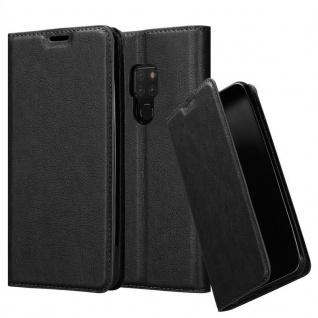 Cadorabo Hülle für Huawei MATE 20 in NACHT SCHWARZ - Handyhülle mit Magnetverschluss, Standfunktion und Kartenfach - Case Cover Schutzhülle Etui Tasche Book Klapp Style