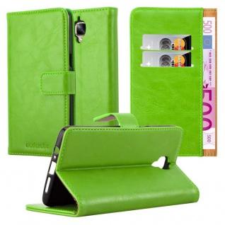 Cadorabo Hülle für OnePlus 3 / 3T in GRAS GRÜN Handyhülle mit Magnetverschluss, Standfunktion und Kartenfach Case Cover Schutzhülle Etui Tasche Book Klapp Style