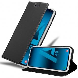 Cadorabo Hülle für Samsung Galaxy A40 in CLASSY SCHWARZ Handyhülle mit Magnetverschluss, Standfunktion und Kartenfach Case Cover Schutzhülle Etui Tasche Book Klapp Style