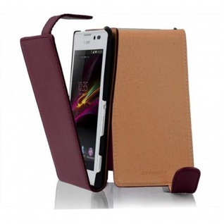 Cadorabo Hülle für Sony Xperia C in BORDEAUX LILA - Handyhülle im Flip Design aus strukturiertem Kunstleder - Case Cover Schutzhülle Etui Tasche Book Klapp Style