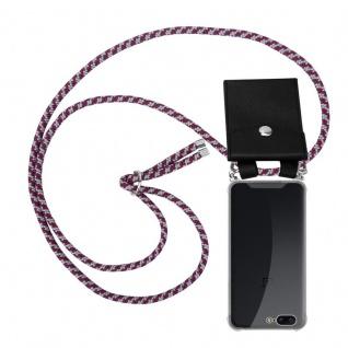 Cadorabo Handy Kette für OnePlus 5 in ROT WEISS Silikon Necklace Umhänge Hülle mit Silber Ringen, Kordel Band Schnur und abnehmbarem Etui Schutzhülle