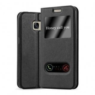 Cadorabo Hülle für Samsung Galaxy S7 in KOMETEN SCHWARZ - Handyhülle mit Magnetverschluss, Standfunktion und 2 Sichtfenstern - Case Cover Schutzhülle Etui Tasche Book Klapp Style