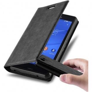 Cadorabo Hülle für Sony Xperia Z3 COMPACT in NACHT SCHWARZ - Handyhülle mit Magnetverschluss, Standfunktion und Kartenfach - Case Cover Schutzhülle Etui Tasche Book Klapp Style