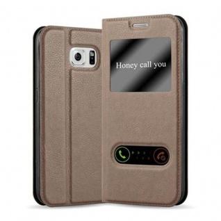 Cadorabo Hülle für Samsung Galaxy S6 in STEIN BRAUN ? Handyhülle mit Magnetverschluss, Standfunktion und 2 Sichtfenstern ? Case Cover Schutzhülle Etui Tasche Book Klapp Style