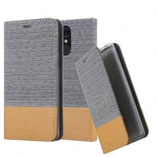 Cadorabo Hülle für LG Q7a in HELL GRAU BRAUN Handyhülle mit Magnetverschluss, Standfunktion und Kartenfach Case Cover Schutzhülle Etui Tasche Book Klapp Style