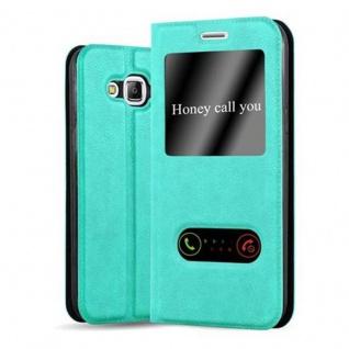 Cadorabo Hülle für Samsung Galaxy J5 2015 in MINT TÜRKIS ? Handyhülle mit Magnetverschluss, Standfunktion und 2 Sichtfenstern ? Case Cover Schutzhülle Etui Tasche Book Klapp Style