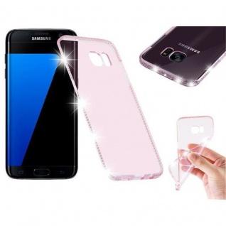 Cadorabo Hülle für Samsung Galaxy S7 EDGE - Hülle in TRANSPARENT ROSA - Handyhülle aus TPU Silikon im Strass Design - Silikonhülle Schutzhülle Ultra Slim Soft Back Cover Case Bumper