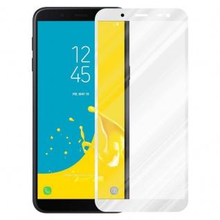 Cadorabo Vollbild Panzer Folie für Samsung Galaxy J6 2018 - Schutzfolie in TRANSPARENT mit WEISS - Gehärtetes (Tempered) Display-Schutzglas in 9H Härte mit 3D Touch Kompatibilität - Vorschau 2