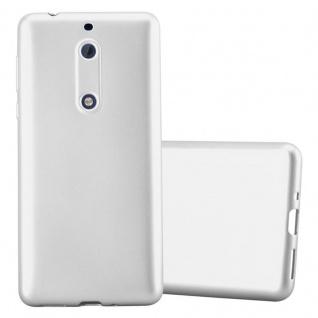 Cadorabo Hülle für Nokia 5 2017 in METALLIC SILBER - Handyhülle aus flexiblem TPU Silikon - Silikonhülle Schutzhülle Ultra Slim Soft Back Cover Case Bumper