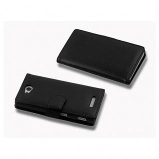 Cadorabo Hülle für Sony Xperia C in OXID SCHWARZ - Handyhülle aus strukturiertem Kunstleder mit Standfunktion und Kartenfach - Case Cover Schutzhülle Etui Tasche Book Klapp Style - Vorschau 3