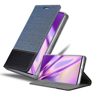 Cadorabo Hülle für Samsung Galaxy NOTE 10 in DUNKEL BLAU SCHWARZ Handyhülle mit Magnetverschluss, Standfunktion und Kartenfach Case Cover Schutzhülle Etui Tasche Book Klapp Style