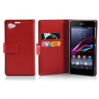 Cadorabo Hülle für Sony Xperia Z1 COMPACT in INFERNO ROT - Handyhülle aus strukturiertem Kunstleder mit Standfunktion und Kartenfach - Case Cover Schutzhülle Etui Tasche Book Klapp Style - Vorschau 1