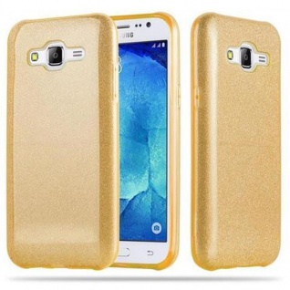 Cadorabo Hülle für Samsung Galaxy J5 2015 - Hülle in STERNENSTAUB GOLD ? TPU Silikon und Hardcase Handyhülle im Glitzer Design - Hard Case TPU Silikon Schutzhülle - Vorschau 1