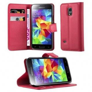 Cadorabo Hülle für Samsung Galaxy S5 MINI / S5 MINI DUOS in KARMIN ROT Handyhülle mit Magnetverschluss, Standfunktion und Kartenfach Case Cover Schutzhülle Etui Tasche Book Klapp Style