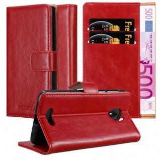 Cadorabo Hülle für WIKO VIEW GO in WEIN ROT Handyhülle mit Magnetverschluss, Standfunktion und Kartenfach Case Cover Schutzhülle Etui Tasche Book Klapp Style