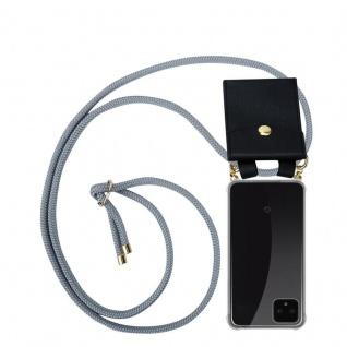 Cadorabo Handy Kette für Google Pixel 4 in SILBER GRAU - Silikon Necklace Umhänge Hülle mit Gold Ringen, Kordel Band Schnur und abnehmbarem Etui ? Schutzhülle