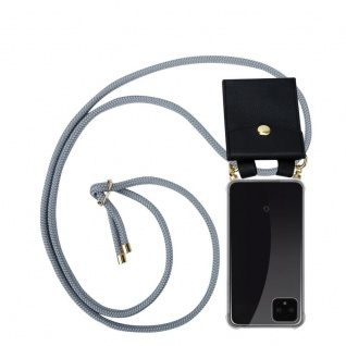 Cadorabo Handy Kette für Google Pixel 4 in SILBER GRAU Silikon Necklace Umhänge Hülle mit Gold Ringen, Kordel Band Schnur und abnehmbarem Etui Schutzhülle