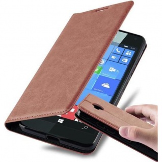 Cadorabo Hülle für Nokia Lumia 650 in CAPPUCCINO BRAUN - Handyhülle mit Magnetverschluss, Standfunktion und Kartenfach - Case Cover Schutzhülle Etui Tasche Book Klapp Style