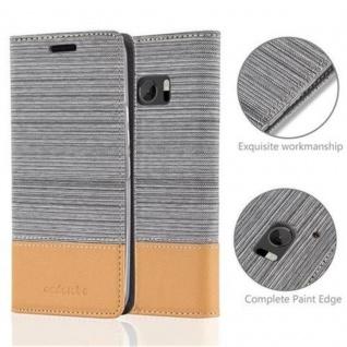 Cadorabo Hülle für HTC 10 (One M10) in HELL GRAU BRAUN - Handyhülle mit Magnetverschluss, Standfunktion und Kartenfach - Case Cover Schutzhülle Etui Tasche Book Klapp Style - Vorschau 2
