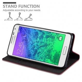 Cadorabo Hülle für Samsung Galaxy ALPHA in APFEL ROT Handyhülle mit Magnetverschluss, Standfunktion und Kartenfach Case Cover Schutzhülle Etui Tasche Book Klapp Style - Vorschau 5