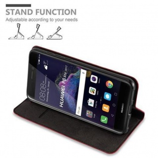 Cadorabo Hülle für Huawei P8 LITE 2017 in APFEL ROT - Handyhülle mit Magnetverschluss, Standfunktion und Kartenfach - Case Cover Schutzhülle Etui Tasche Book Klapp Style - Vorschau 4
