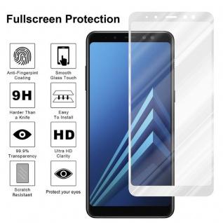 Cadorabo Vollbild Panzer Folie für Samsung Galaxy A8 2018 - Schutzfolie in TRANSPARENT mit WEISS - Gehärtetes (Tempered) Display-Schutzglas in 9H Härte mit 3D Touch Kompatibilität - Vorschau 4