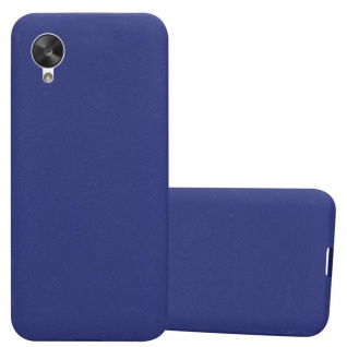 Cadorabo Hülle für LG NEXUS 5 in FROST DUNKEL BLAU - Handyhülle aus flexiblem TPU Silikon - Silikonhülle Schutzhülle Ultra Slim Soft Back Cover Case Bumper