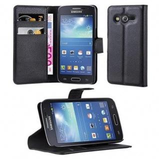 Cadorabo Hülle für Samsung Galaxy CORE LTE in PHANTOM SCHWARZ - Handyhülle mit Magnetverschluss, Standfunktion und Kartenfach - Case Cover Schutzhülle Etui Tasche Book Klapp Style