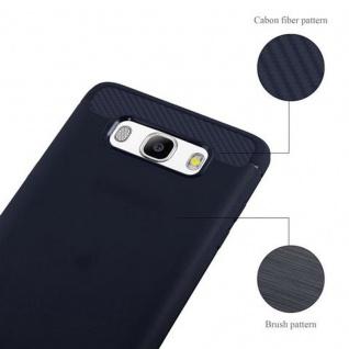 Cadorabo Hülle für Samsung Galaxy J7 2016 (6) - Hülle in BRUSHED BLAU - Handyhülle aus TPU Silikon in Edelstahl-Karbonfaser Optik - Silikonhülle Schutzhülle Ultra Slim Soft Back Cover Case Bumper - Vorschau 5