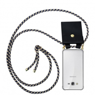 Cadorabo Handy Kette für Samsung Galaxy GRAND PRIME in DUNKELBLAU GELB - Silikon Necklace Umhänge Hülle mit Gold Ringen, Kordel Band Schnur und abnehmbarem Etui ? Schutzhülle