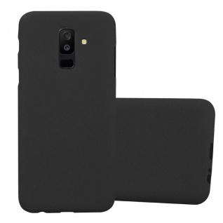 Cadorabo Hülle für Samsung Galaxy A6 PLUS 2018 in FROST SCHWARZ Handyhülle aus flexiblem TPU Silikon Silikonhülle Schutzhülle Ultra Slim Soft Back Cover Case Bumper