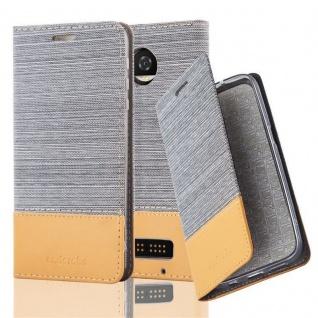 Cadorabo Hülle für Motorola MOTO Z2 PLAY in HELL GRAU BRAUN - Handyhülle mit Magnetverschluss, Standfunktion und Kartenfach - Case Cover Schutzhülle Etui Tasche Book Klapp Style
