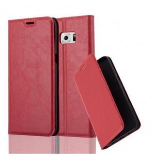 Cadorabo Hülle für Samsung Galaxy S6 EDGE PLUS in APFEL ROT - Handyhülle mit Magnetverschluss, Standfunktion und Kartenfach - Case Cover Schutzhülle Etui Tasche Book Klapp Style - Vorschau 1