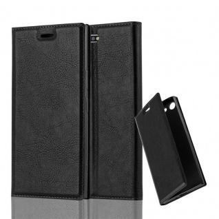 Cadorabo Hülle für Sony Xperia XZ PREMIUM in NACHT SCHWARZ - Handyhülle mit Magnetverschluss, Standfunktion und Kartenfach - Case Cover Schutzhülle Etui Tasche Book Klapp Style