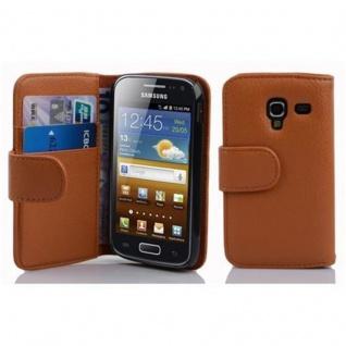 Cadorabo Hülle für Samsung Galaxy ACE 2 in COGNAC BRAUN - Handyhülle aus strukturiertem Kunstleder mit Standfunktion und Kartenfach - Case Cover Schutzhülle Etui Tasche Book Klapp Style