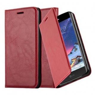 Cadorabo Hülle für LG K8 2017 in APFEL ROT Handyhülle mit Magnetverschluss, Standfunktion und Kartenfach Case Cover Schutzhülle Etui Tasche Book Klapp Style